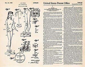 1959 Vintage Barbie Doll Construction Drawing Gifts Patent Art Print