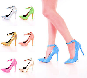 b953ee73390 NEW Silver Gold Tan POINT TOE SINGLE SOLE ANKLE STRAP High Heels ...
