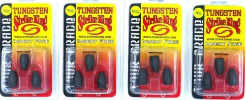 4 Packs Strike King Tungsten Bullet Weights Tour Grade Insert Free 1//4 Oz MGP