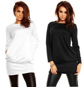 Damen-Tunika-Longshirt-Locker-Taschen-36-38-40-42-44-46-48-50-lx5