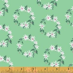 Clearance-Sale-Daisy-Chain-Flower-Garland-Green-Cotton-Fabric-by-Windham-Fabrics