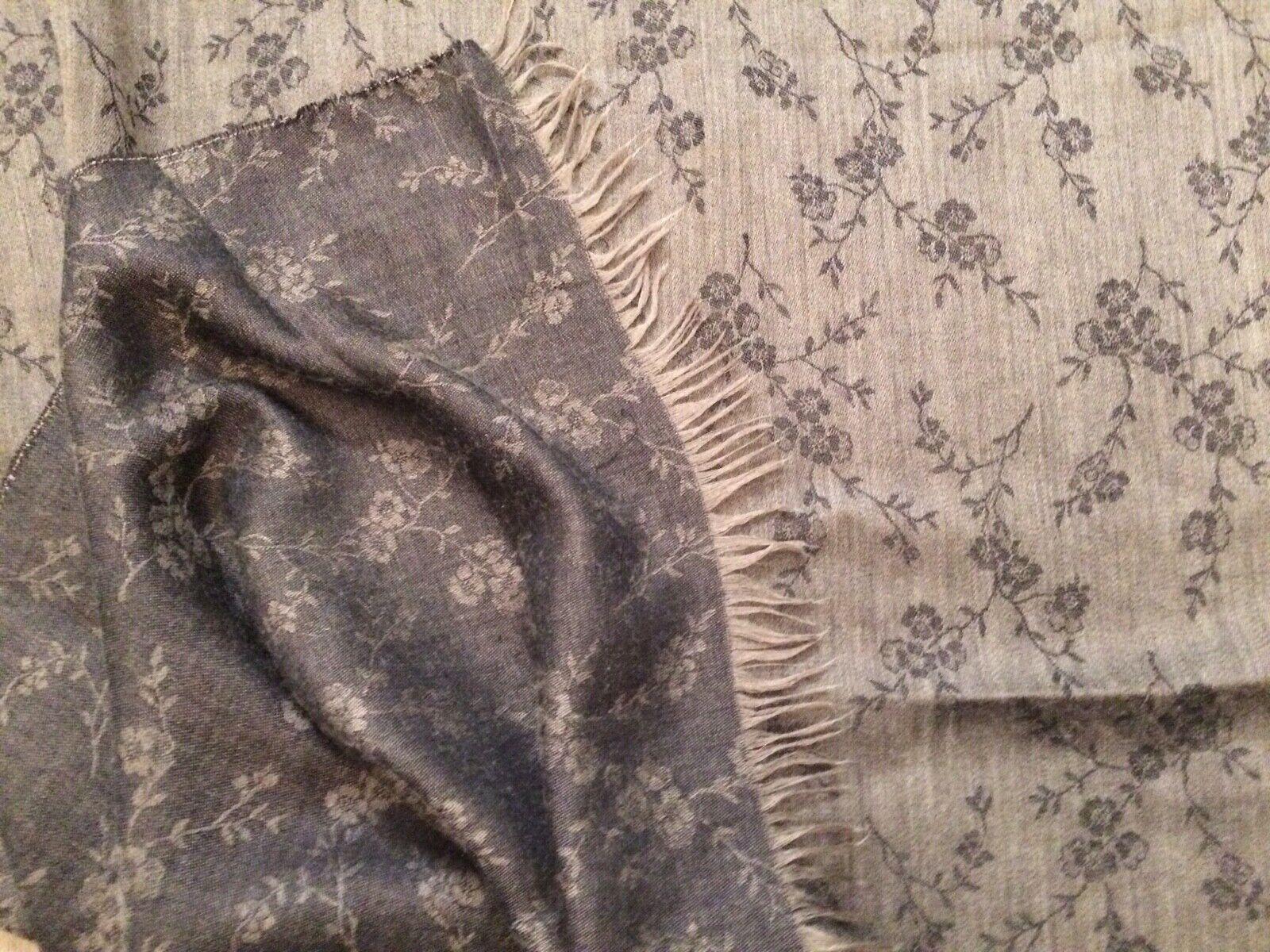 ARMANI Floral Scarf/ Wrap cashmere tone on tone gunmetal grey soft preowned
