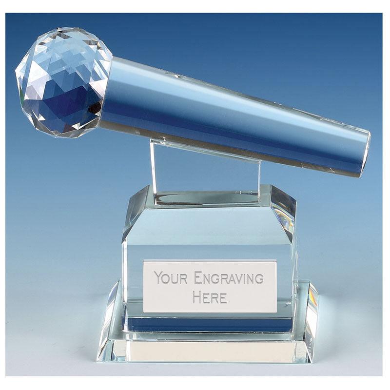 Match Microphone Crystal Trophy, Award,145mm,FREE Engraving (KK280)GW