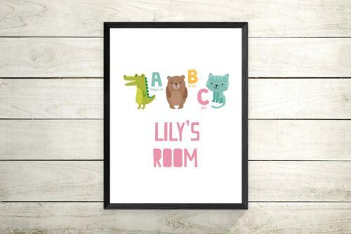 Nursery Kids Decor Wall new baby gift Art Print ABC Animal Alphabet print