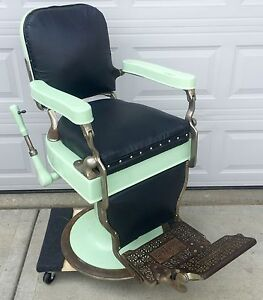 Antique Theo A Kochs Barber Shop Chair For Restoration
