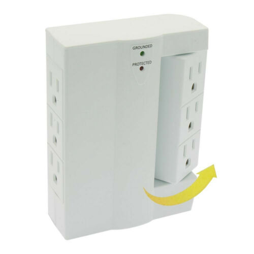 6 Outlet 3 Side Swivel Wall Tap Power Strip Surge Protector 2-Pack