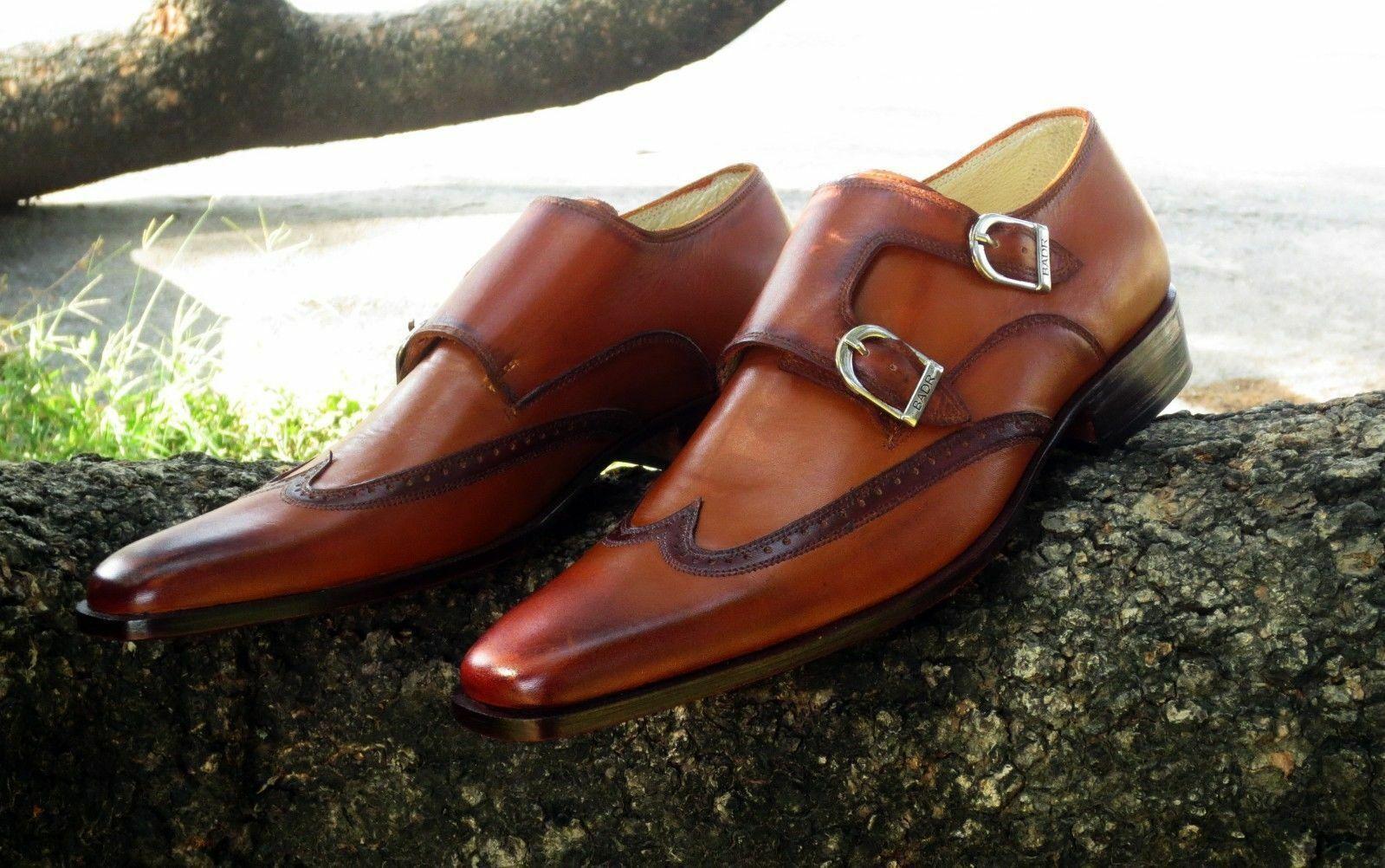 Homme Fait à la main Chaussures en Cuir Marron Style Bout D'Aile Double Monk formelle   bottes