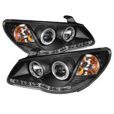 Fit Hyundai 07-10 Elantra Black DRL Dual Halo LED Projector Headlights Lamps