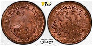 1942-Bolivia-50-Centavos-PCGS-MS65-Red-Restrike
