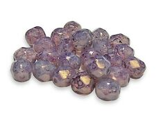 6mm Lilac Opal Luster Picasso Czech Glasss Firepolished Round Beads (25) #3437