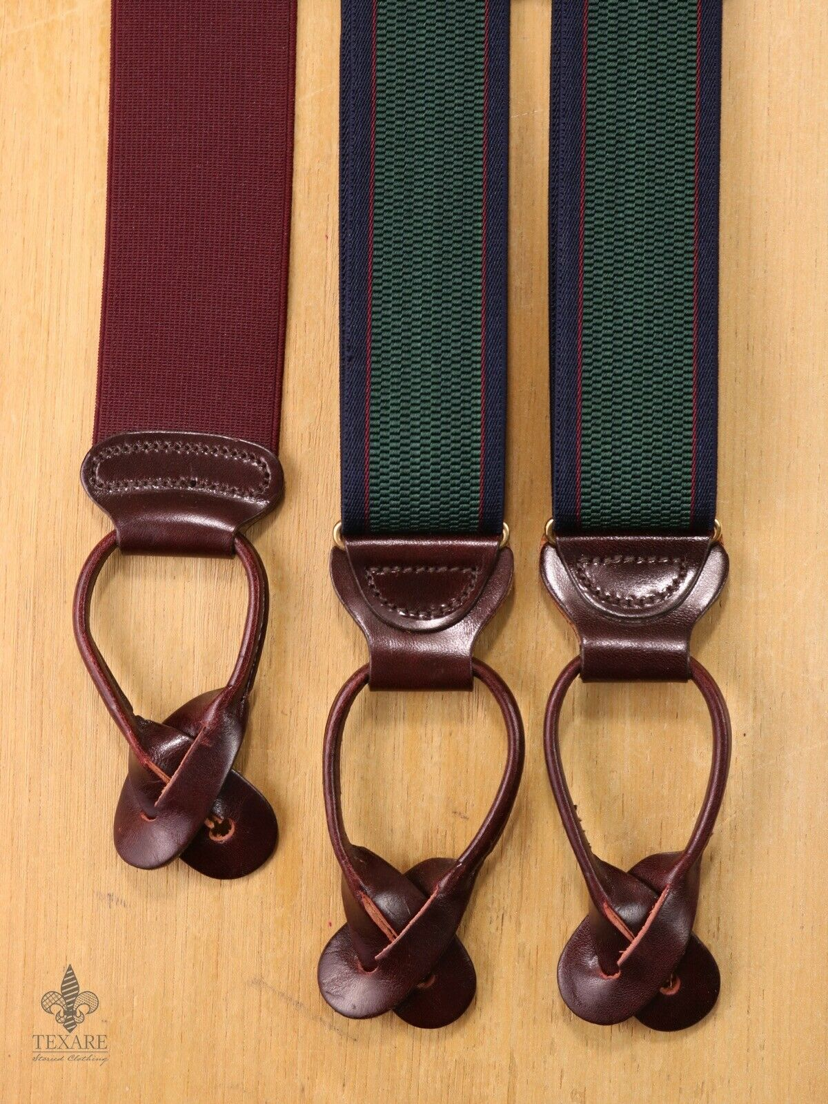 TRAFALGAR British Racing Green Striped Stretch Braces Suspenders EH02