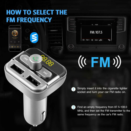 Wireless Handsfree Car Kit FM Transmitter MP3 Player Dual USB Charger US