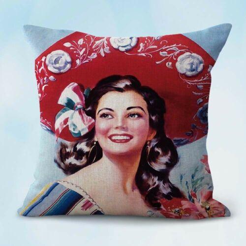 senorita Mexico Spanish art cushion decorative pillow case