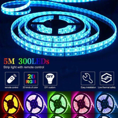 49FT 15m Flexible LED Strip Light 3528 RGB SMD Remote Fairy Lights Room TV Party