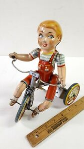 1950-039-s-UNIQUE-ART-034-Kiddy-Cyclist-034-Very-Good-Working-Original-Condition