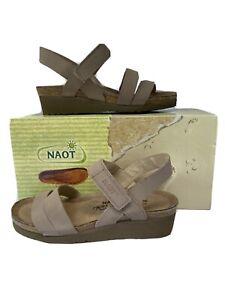 NAOT KAYLA  36 Stone Nubuk Leather Cork footbed comfort $89
