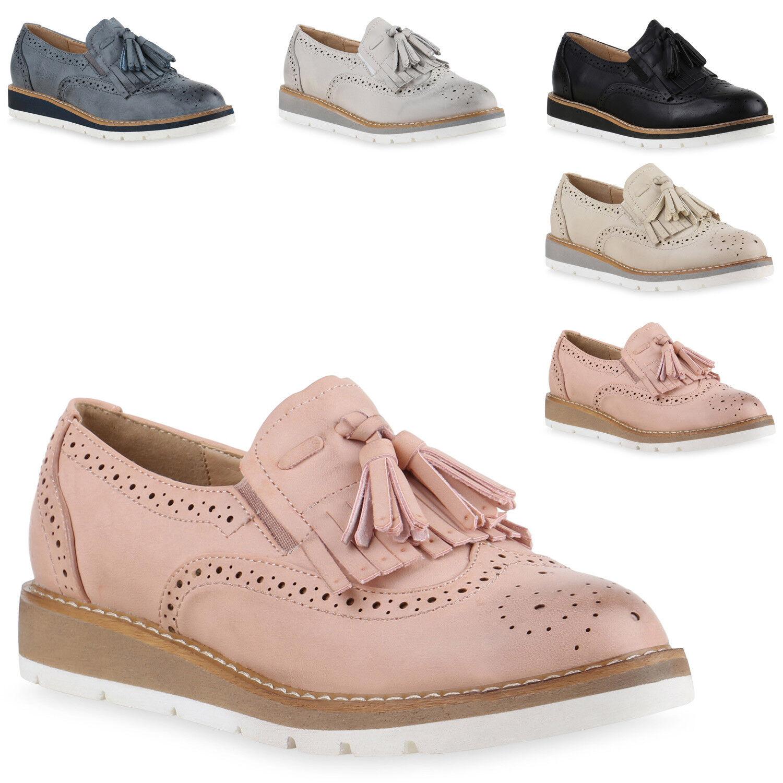 Damen Slipper  Tassel Loafers Profilsohle Lederoptik  Slipper zapatos  815808 Trendy 4976fd