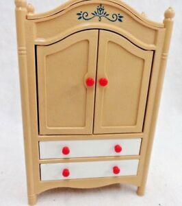 Details About Dollhouse Miniature Bedroom Furniture Tomy Nursery Wardrobe Armoire Plastic