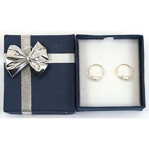 14K-Yellow-Gold-Endless-Hoop-Pearl-Earrings-with-Blue-jewelry-Gift-Box