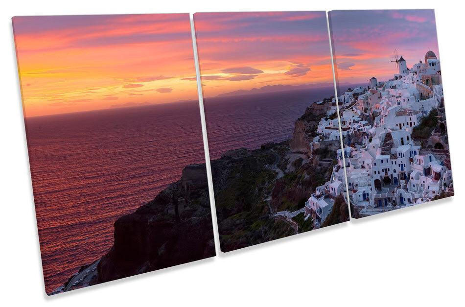 Greek Island Sunset Santorini  TREBLE CANVAS Wand Kunst Bild Drucken