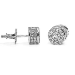 Details About Men 14 White Gold Plated Round Diamond Back Stud Earrings