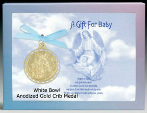 Details about Crib Medal Guardian Angel Comes Boxed w Prayer BAPTISM  Anodized Gold Finish