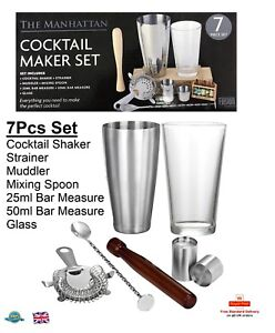 284c463d9eaa6 7PC The Manhattan Cocktail Maker Set Glass Shaker Strainer Measure ...