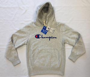 Champion Logo Hooded Sweatshirt Hoody Mens Size UK Medium Grey *REF28