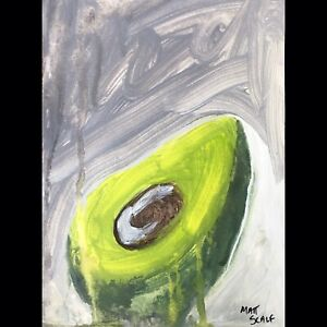 Matt Scalf Abstract Avocado ORIGINAL PAINTING 9x12 Vegan Modern Contemporary