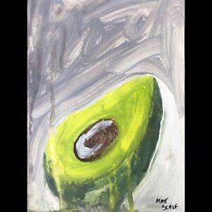 Matt Scalf Abstract Avocado ORIGINAL PAINTING 9x12 Vegan Modern Contemporary