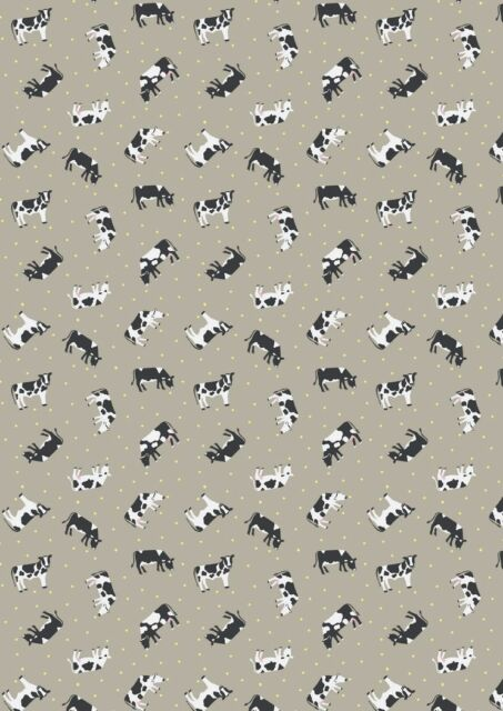 Small Things Farm Cows Taupe Cotton Quilting Sewing Fabric