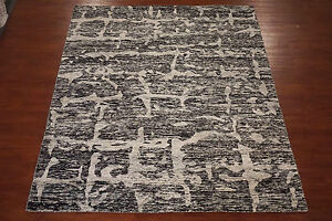 8X10-Modern-Bamboo-Silk-Contemporary-Black-Hand-Knotted-Area-Rug-Carpet