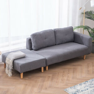 Cool Details About Universal Grey 2 Seater Sofa Bed Retro Chaise Couch Wooden Frame With Footstool Uwap Interior Chair Design Uwaporg