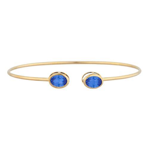 14Kt Gold Tanzanite Oval Bezel Bangle Bracelet