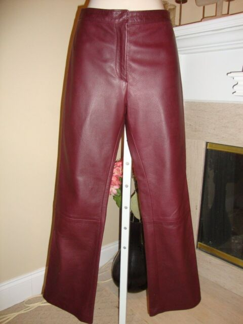 GORGEOUS NEW $2,095 GIANNI VERSACE WINE LEATHER PANTS (NWOT)
