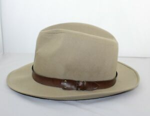 Vintage MALLORY BY STETSON Beige Canvas Fedora Hat Size Medium 7 - 7 ... 526c245d52c
