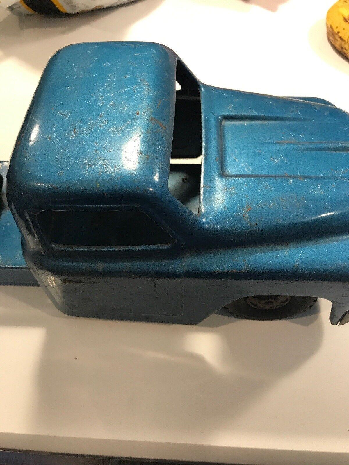 Vintage ancien années 1950 Structo camion poubelle Pressé Acier hydraulique Sanitation Bleu