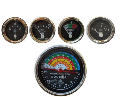 Tachometer +Temp+Oil Pressure +Amp+ Fuel Gauge IH Farmall 340 Tractor Gas//Dsl