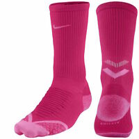 Nike Elite Cushioned Running Red Hot Pink Crew Socks Men's 6 - 7.5 & Womens 7.5