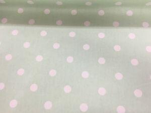 Mint Green Spot 100/% cotton Curtain//Craft Fabric