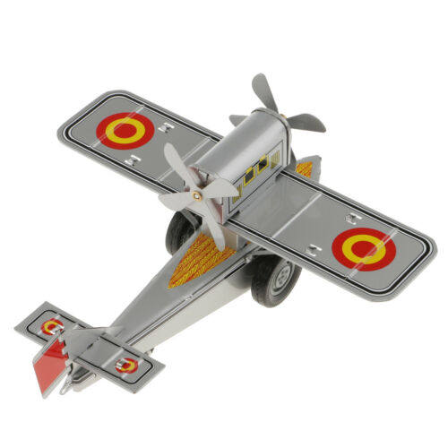 Retro Wind Up Propeller Plane Metal Tin Clockwork Toy Kids Collectible Gifts