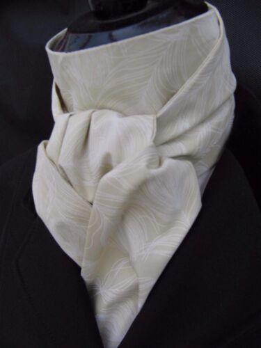 Self Cravate Blanc sur Crème Plume Motif Coton équitation dressage Stock-concours complet