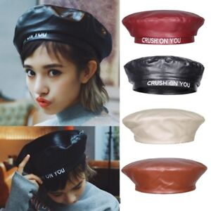 Image is loading Women-039-s-Leather-Octagonal-Newsboy-Cap-Bonnet- 6b88c7682d01