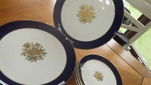 Vintage Taylor Smith Taylor Embassy Cobalt blue dinner plates Bread butter 8pc