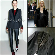 RARE NEW CELINE Black Fitted Satin Smoking Evening Tuxedo Blazer Jacket FR36 US4