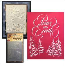 Christmas PEACE ON EARTH folder - Dreamweavers embossing folders winter trees