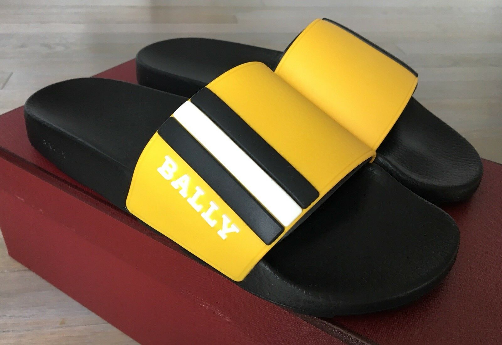 Bally Saxor Yellow and Black Rubber Sandals size US 12 Made in
