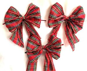 10 x red tartan with gold wired edge christmas tree bowsgift bows image is loading 10 x red tartan with gold wired edge negle Gallery