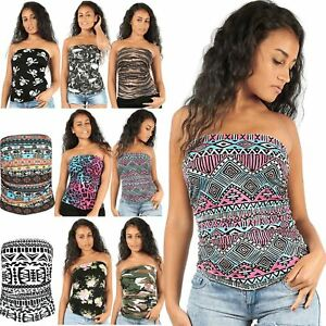 566fd81453 Image is loading Womens-Strapless-Skull-Aztec-Boobtube-Bandeau-Ladies-Crop-