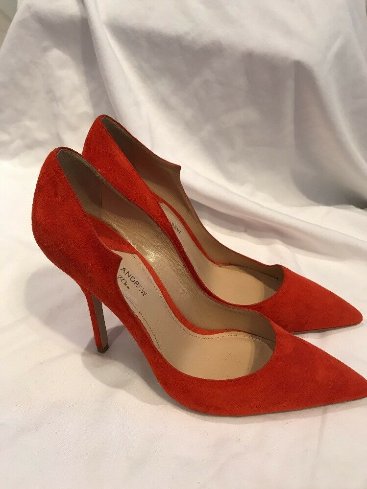 PAUL ANDREW FOR J CREW SUEDE PUMPS SZ.9.5 MADEM RED NEW NEW RED $398 #E1326 0d4787